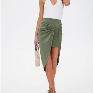 Green midi wrap skirt